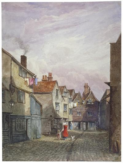 View of a Woman and a Child Walking Down Crown Court, Bermondsey, London, C1825-W Barker-Giclee Print
