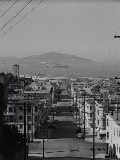 View of Alcatraz Island from Russian Hill-Philip Gendreau-Photographic Print