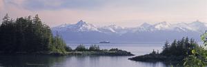 View of an Alaskan Ferry on a Lake, Lynn Canal, Juneau, Alaska, USA