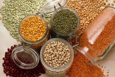 View of An Assortment of Beans And Pulses-Erika Craddock-Photographic Print