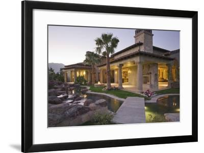 View of an Illuminated Modern House with Pond in Foreground-Nosnibor137-Framed Photographic Print