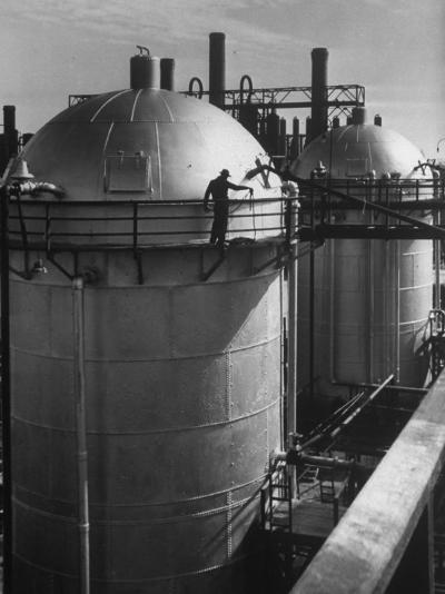 View of an Installation at a Texaco Oil Refinery-Margaret Bourke-White-Photographic Print