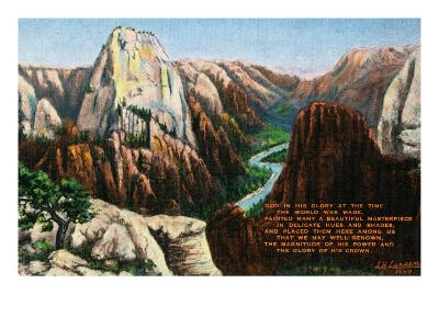 View of Angels Landing and the Great White Throne, Zion National Park, Utah-Lantern Press-Art Print