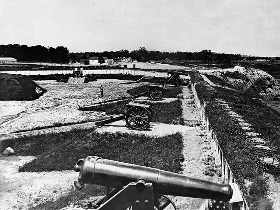 View of Artillery in Fort Carroll Outside Washington, D. C., C.1865--Photographic Print
