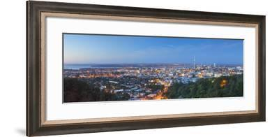 View of Auckland from Mount Eden at Dusk, Auckland, North Island, New Zealand, Pacific-Ian Trower-Framed Photographic Print
