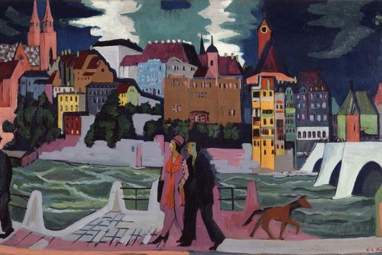 View of Basel and the Rhine, 1927-28-Ernst Ludwig Kirchner-Premium Giclee Print