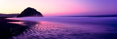 View of Beach at Sunrise, Morro Rock, Morro Bay, San Luis Obispo County, California, USA--Photographic Print
