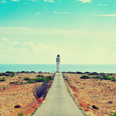 View of Beacon Far De Barbaria in Formentera, Balearic Islands, Spain, with a Retro Effect-nito-Photographic Print