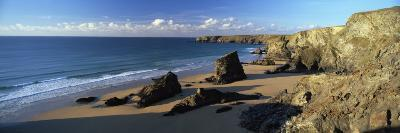 View of Bedruthan Steps and Beach, Near Newquay, Cornwall, England, United Kingdom, Europe-Lee Frost-Photographic Print