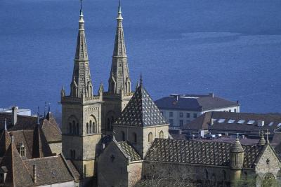 View of Bell Towers of Collegiate Church of Neuchatel--Giclee Print