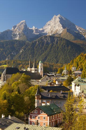 View of Berchtesgaden in Autumn with the Watzmann Mountain in the Background-Miles Ertman-Photographic Print
