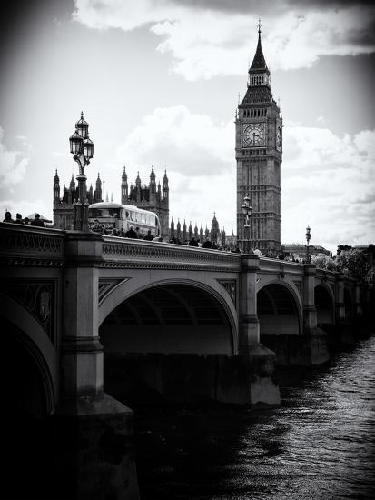 View of Big Ben from across the Westminster Bridge - Thames River - City of London - UK - England-Philippe Hugonnard-Photographic Print