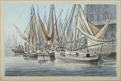 View of Billingsgate Wharf with Boats on the Water, City of London, 1790-Robert Clevely-Giclee Print