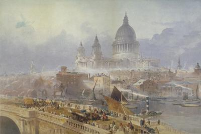 View of Blackfriars Bridge and St Paul's Cathedral, London, 1840-David Roberts-Giclee Print