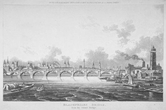 View of Blackfriars Bridge from the Strand Bridge, London, 1815-Thomas Hosmer Shepherd-Giclee Print