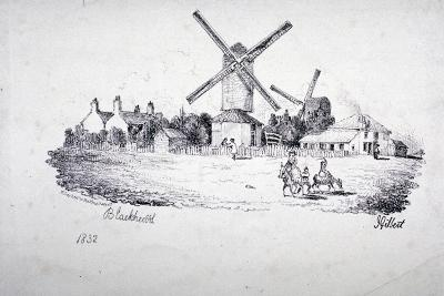 View of Blackheath, Showing Windmills and Buildings, Greenwich, London, 1832-William Day-Giclee Print