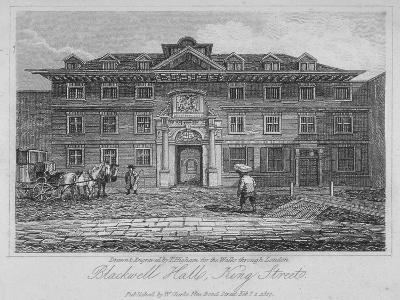 View of Blackwell Hall on King Street with Carriage and Figures, City of London, 1817-Thomas Higham-Giclee Print