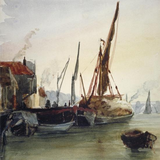 View of Boats Moored on the River Thames at Bankside, Southwark, London, C1830-Thomas Hollis-Giclee Print