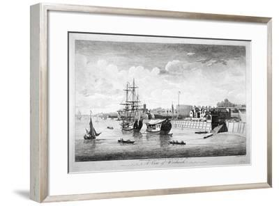 View of Boats on the River Thames Near Woolwich, Kent, 1750-John Boydell-Framed Giclee Print
