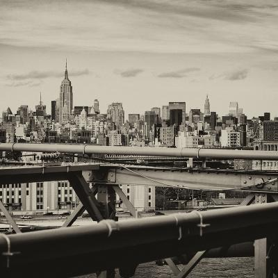 View of Brooklyn Bridge with the Empire State Buildings-Philippe Hugonnard-Photographic Print