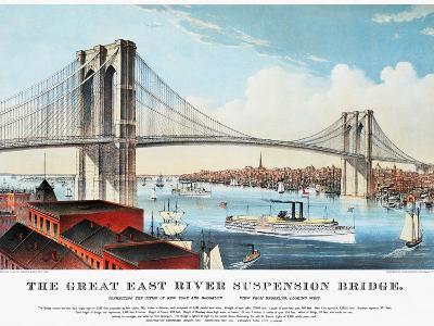 View of Brooklyn Bridge-Currier & Ives-Giclee Print