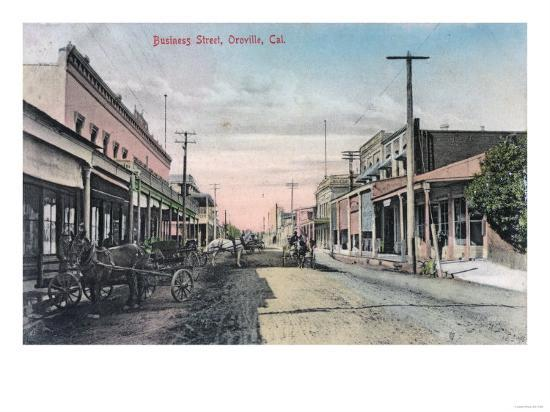 View of Business Section with Horse Carriages - Oroville, CA-Lantern Press-Art Print