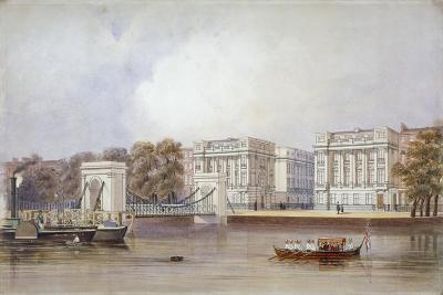View of Cadogan Pier with Boats on the River Thames, Chelsea, London, C1860--Giclee Print