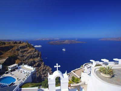 View of Caldera from Imerovigli, Santorini, Cyclades, Greek Islands, Greece, Europe-Sakis Papadopoulos-Photographic Print