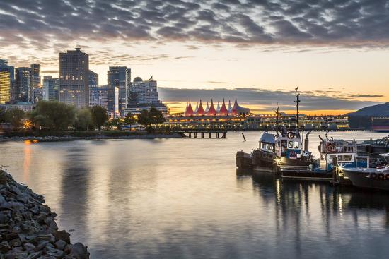 View of Canada Place and urban office buildings at sunset from CRAB Park, Vancouver, British Columb-Frank Fell-Photographic Print