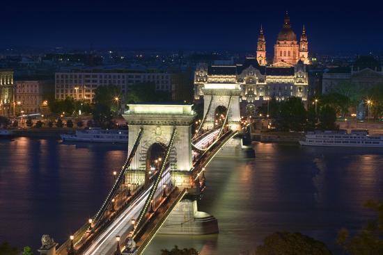 View of Chain Bridge and Pest-Jon Hicks-Photographic Print
