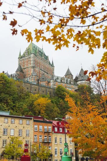 View of Chateau Frontenac from Quartier du Petit-Champlain, Vieux-Quebec, the only Walled City in N-Stuart Westmorland-Photographic Print