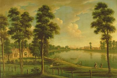 View of Chelsea Reservoir and Waterworks, with Westminster Abbey in the Distance, C.1725--Giclee Print