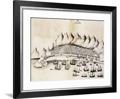 View of City of Aden, Yemen, Engraving from Legends of India by Gaspar Correia--Framed Giclee Print