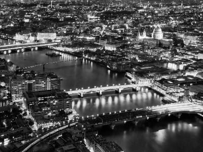 View of City of London with St. Paul's Cathedral and River Thames at Night - London - UK - England-Philippe Hugonnard-Photographic Print