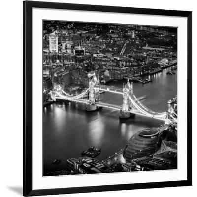 View of City of London with the Tower Bridge at Night - London - UK - England - United Kingdom-Philippe Hugonnard-Framed Photographic Print
