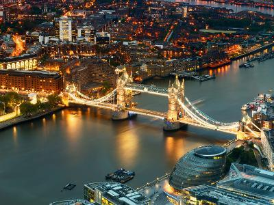 View of City of London with the Tower Bridge at Night - London - UK - England - United Kingdom-Philippe Hugonnard-Photographic Print