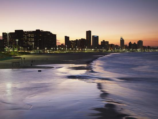 View of City Skyline and Beachfront at Sunset, Durban, Kwazulu-Natal, South Africa-Ian Trower-Photographic Print
