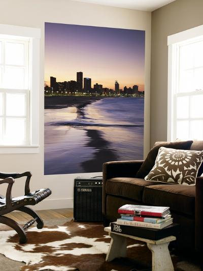 View of City Skyline and Beachfront at Sunset, Durban, Kwazulu-Natal, South Africa-Ian Trower-Wall Mural