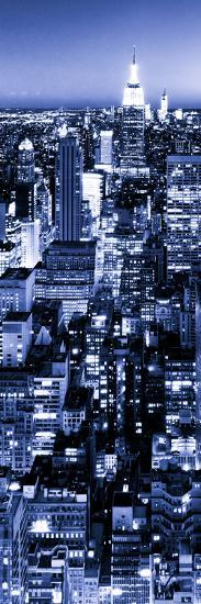 View of City, Vertical Panoramic Landscape View by Night, Midtown Manhattan, Manhattan, NYC-Philippe Hugonnard-Photographic Print