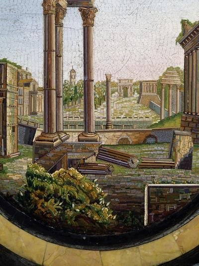 View of Classical Ruins, Marble Gueridon Table Top Inlay, Rome, Ca 1840, Italy, 19th Century--Giclee Print