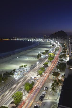 View of Copacabana Beach and Avenida Atlantica at Dusk, Copacabana, Rio de Janeiro, Brazil-Ian Trower-Framed Photographic Print