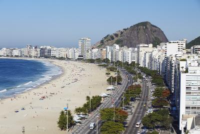 View of Copacabana Beach and Avenida Atlantica, Copacabana, Rio de Janeiro, Brazil, South America-Ian Trower-Photographic Print