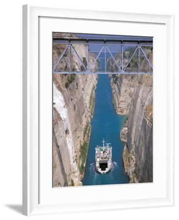 View of Corinth Canal, Corinthia, Corinth, Peloponnese, Greece-Walter Bibikow-Framed Photographic Print