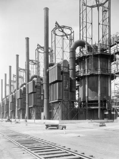View of Cracking Stills at Oil Refinery--Photographic Print