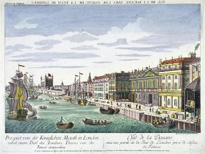 View of Custom House and River Thames, London, C1760-George Godofroid Winkler-Giclee Print