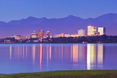View of Downtown Anchorage Skyline across Knik Arm with Reflection at Sunset Southcentral Alaska Su-Design Pics Inc-Photographic Print