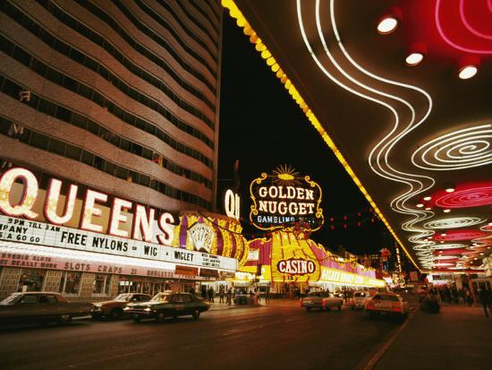 View of Downtown Las Vegas at Night-Walter Meayers Edwards-Photographic Print