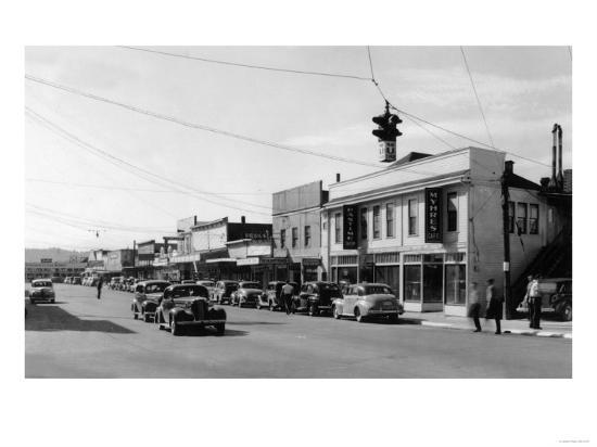 View of Downtown Street - Port Orchard, WA-Lantern Press-Art Print
