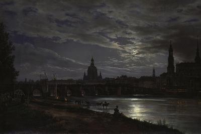 View of Dresden During Fullmoon, 1839-Johan Christian Clausen Dahl-Giclee Print