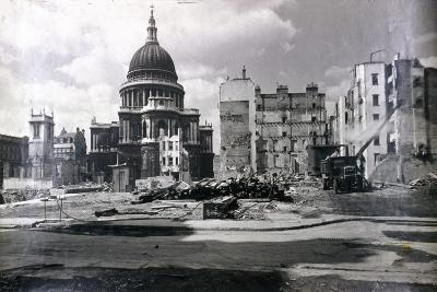 View of East End of St Paul's Showing Air Raid Damage in the Vicinity, London, C1941--Photographic Print
